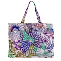 Zentangle Mix 1116a Medium Zipper Tote Bag