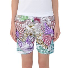 Zentangle Mix 1116b Women s Basketball Shorts