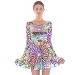 Zentangle Mix 1116b Long Sleeve Skater Dress