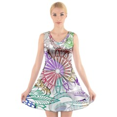 Zentangle Mix 1116b V-Neck Sleeveless Skater Dress
