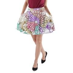 Zentangle Mix 1116b A-Line Pocket Skirt