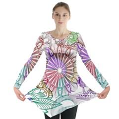 Zentangle Mix 1116b Long Sleeve Tunic