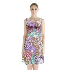 Zentangle Mix 1116b Sleeveless Chiffon Waist Tie Dress