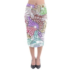 Zentangle Mix 1116b Midi Pencil Skirt