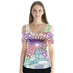 Zentangle Mix 1116b Butterfly Sleeve Cutout Tee