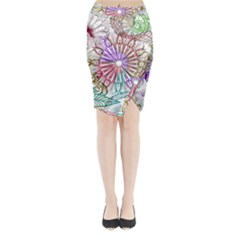 Zentangle Mix 1116b Midi Wrap Pencil Skirt