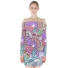 Zentangle Mix 1116b Long Sleeve Off Shoulder Dress