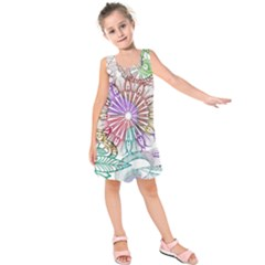 Zentangle Mix 1116b Kids  Sleeveless Dress