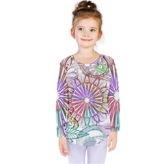 Zentangle Mix 1116b Kids  Long Sleeve Tee