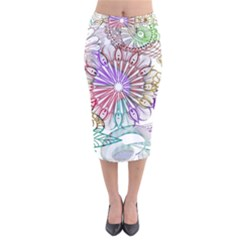 Zentangle Mix 1116b Velvet Midi Pencil Skirt