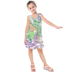 Zentangle Mix 1116c Kids  Sleeveless Dress