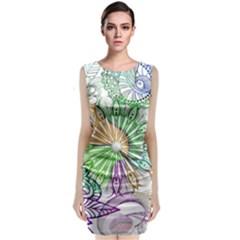 Zentangle Mix 1116c Sleeveless Velvet Midi Dress