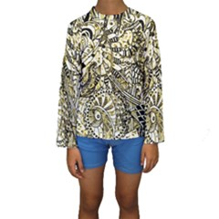 Zentangle Mix 1216a Kids  Long Sleeve Swimwear