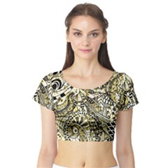 Zentangle Mix 1216a Short Sleeve Crop Top (Tight Fit)