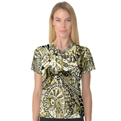Zentangle Mix 1216a Women s V-Neck Sport Mesh Tee
