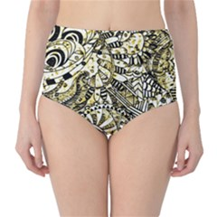 Zentangle Mix 1216a High-Waist Bikini Bottoms