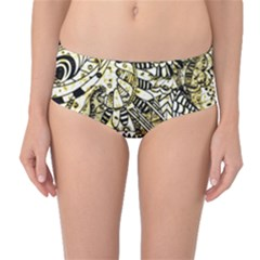 Zentangle Mix 1216a Mid-Waist Bikini Bottoms