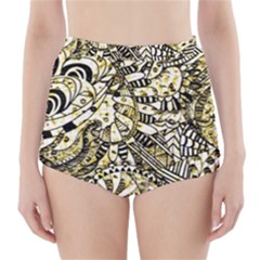 Zentangle Mix 1216a High-Waisted Bikini Bottoms