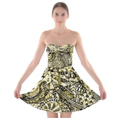 Zentangle Mix 1216a Strapless Bra Top Dress
