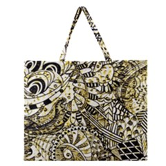 Zentangle Mix 1216a Zipper Large Tote Bag