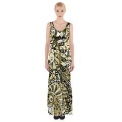 Zentangle Mix 1216a Maxi Thigh Split Dress