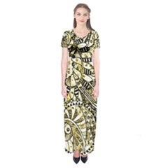Zentangle Mix 1216a Short Sleeve Maxi Dress