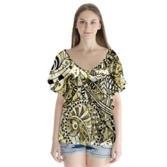 Zentangle Mix 1216a Flutter Sleeve Top
