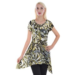 Zentangle Mix 1216a Short Sleeve Side Drop Tunic