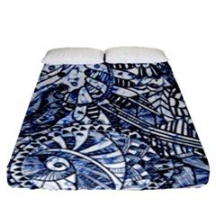 Zentangle Mix 1216b Fitted Sheet (Queen Size)