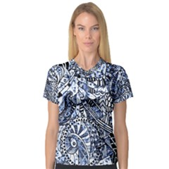 Zentangle Mix 1216b Women s V-Neck Sport Mesh Tee