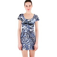 Zentangle Mix 1216b Short Sleeve Bodycon Dress