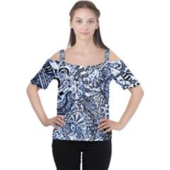 Zentangle Mix 1216b Women s Cutout Shoulder Tee