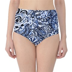Zentangle Mix 1216b High-Waist Bikini Bottoms