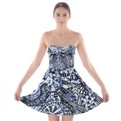 Zentangle Mix 1216b Strapless Bra Top Dress