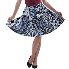 Zentangle Mix 1216b A-line Skater Skirt