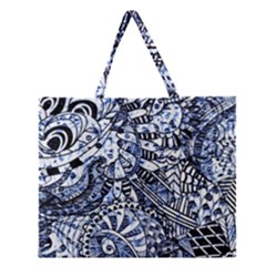 Zentangle Mix 1216b Zipper Large Tote Bag