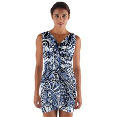 Zentangle Mix 1216b Wrap Front Bodycon Dress