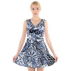 Zentangle Mix 1216b V-Neck Sleeveless Skater Dress