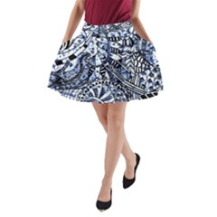 Zentangle Mix 1216b A-Line Pocket Skirt