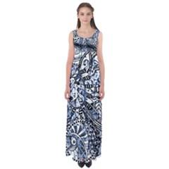 Zentangle Mix 1216b Empire Waist Maxi Dress
