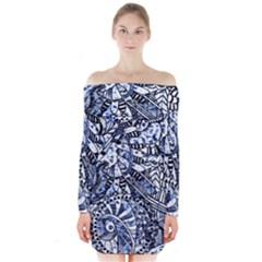 Zentangle Mix 1216b Long Sleeve Off Shoulder Dress