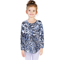 Zentangle Mix 1216b Kids  Long Sleeve Tee