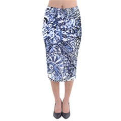 Zentangle Mix 1216b Velvet Midi Pencil Skirt