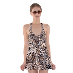 Zentangle Mix 1216c Halter Swimsuit Dress