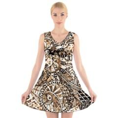 Zentangle Mix 1216c V-Neck Sleeveless Skater Dress