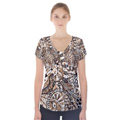 Zentangle Mix 1216c Short Sleeve Front Detail Top