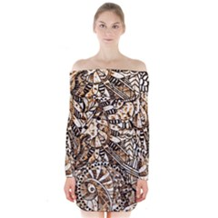Zentangle Mix 1216c Long Sleeve Off Shoulder Dress