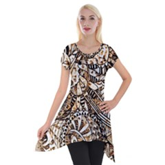 Zentangle Mix 1216c Short Sleeve Side Drop Tunic