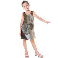 Ocicat Tawny Kitten With Cinnamon Mother  Kids  Sleeveless Dress
