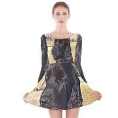 Black English Cocker Spaniel  Long Sleeve Velvet Skater Dress